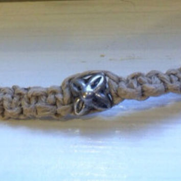 Hemp and glass bead friendship bracelet