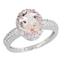 10K White Gold Diamond Natural Morganite Ring Oval 9x7mm, size 7.5