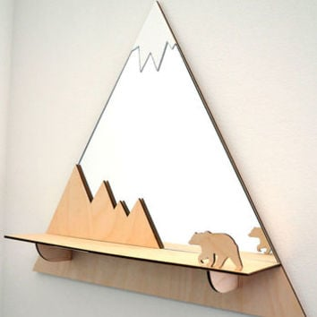 Grizzly Bear Mountain Peak Decorative Mirror And Shelf