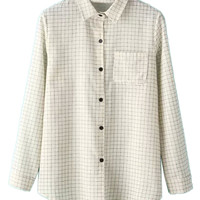 Beige Plaid Pocket Detail Long Sleeve Shirt