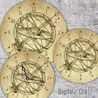 "Antique Globe Large Clock Face - 12"" and 8"" Digital Downloads - DIY - Printable Image - Iron On Transfer - Wall Decor - Crafts - jpg pdf"