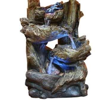 Tiered Log Statue with LED Lights