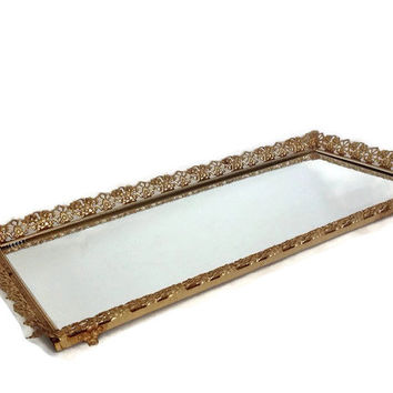 Vintage Mirrored Vanity Tray, Large Gold Metal Filigree, Flockied Bottom, Mid Century, Hollywood Regency, Perfume Tray, Dresser Tray-22 x 12