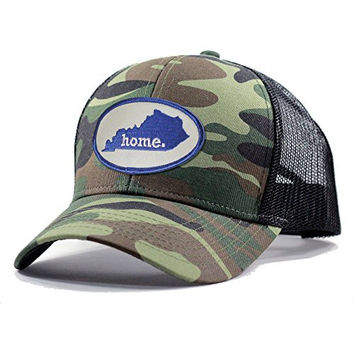 Homeland Tees Men's Kentucky Home State Army Camo Trucker Hat - Blue