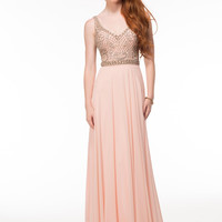 GLOW G605 Blush Chiffon Fit and Flow Prom Dress Evening Gown