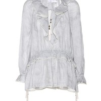 Ruffled linen blouse