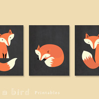 Fox printable Set fo 3, INSTANT DOWNLOAD Chalkboard Nursery Decoration, fox nursery, printable set, fox print, nursery decor, fox art print