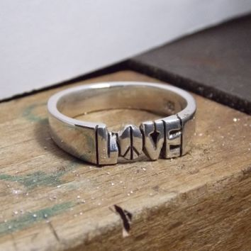 Love With Peace Sign Design As An O Hand Carved In A Sterling Silver 925 Ring 6mm