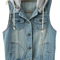 VonFon Women's Sleeveless Hooded Bleached Casual Denim Vest Jacket Dark blue