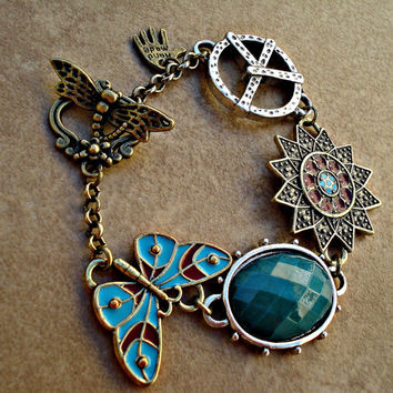 Boho Peace, Butterfly, Sun and Turquoise Bracelet with Dragonfly Toggle - Boho Earth Tone, Silver, Antique Bronze Nature Toggle Bracelet
