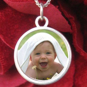 Custom Photo Necklace - Small Circle, Reversible, Sterling Silver,  Waterproof