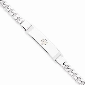 Sterling Silver Non-Enameled Medical Id Curb Link Bracelet