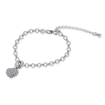 Silver Heart Shaped Pendant Bracelet with Rhinestones