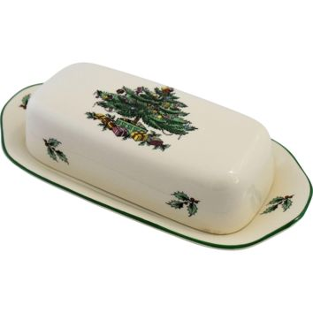 Spode Christmas Tree Butter Dish Green Trim Vintage Made in England Original Box.