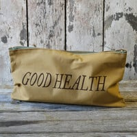 Limited Edition 'GOOD HEALTH' cotton zip pouch
