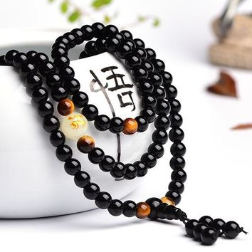 108 Beads Dragon Glow In The Dark Moon Wrap Bracelet For Men Women Black Buddha Stone Lovers Couple Handmade Bangles Bracelets