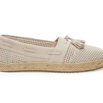 TOMS Whisper Suede Perforated Women's Alpargata High Rope Natural