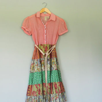 Boho Stripe and Floral Dress, Hippie, Cottage Chic, Country Girl, Tattered, Baby Doll Dress, Eco Earth Friendly, Upcycled Clothing