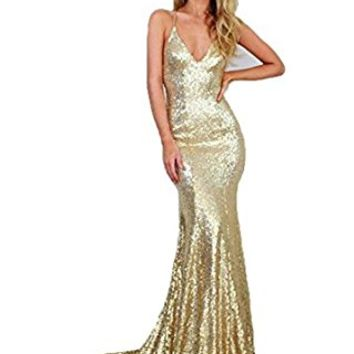 DYS Women's Gold Mermaid Prom Dress Spaghetti Straps V Neck Backless Gowns