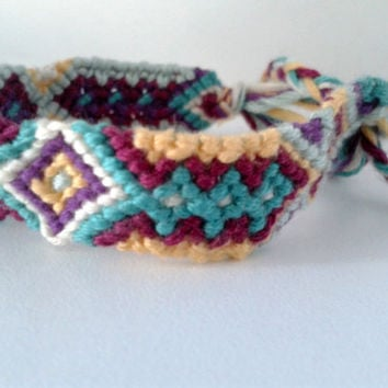 Multi-Coloured Aztec Pattern Friendship Bracelet - Hand-woven Embroidery Floss Bracelet