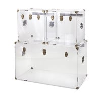 Lucite Trunk Coffee Table and Acrylic Accent Tables