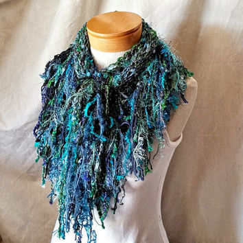 Turquoise blue triangle scarf Boa fringe Cowl neck shawlette Easter knit scarf Teal green fashion scarflette
