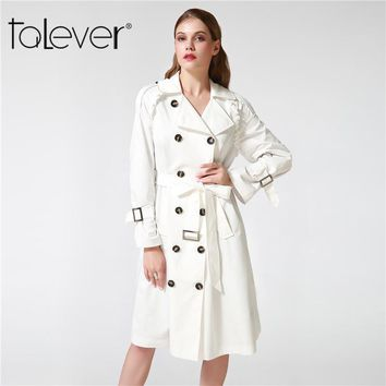 Talever Autumn Winter Trench Coat For Women Adjustable Waist Slim Solid Black Coat White Long Trench Female Outerwear Plus Size - Beauty Ticks