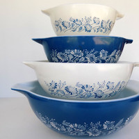 Full Set Pyrex Colonial Mist Cinderella Mixing Bowls- Nested Mixing Bowls - French Daisy, Blue Mist, Voile Bleu -Vintage Pyrex
