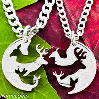 Family Necklace, Buck and Doe, Deer with Children, Hunting Jewelry, Fawn and Spike