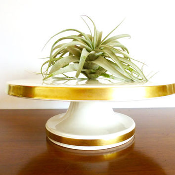 Mid Century Ernest Sohn Cake Stand - White Ceramic with Gold Band