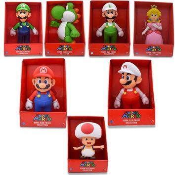 Super Mario party nes switch 7Styles 23cm  Bros Figure Yoshi Peach Princess Toad PVC Action Figure Hot Toys For Children  Luigi   AT_80_8