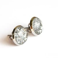 Sparkling Silver Post Earrings With.. on Luulla