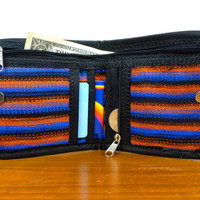 Bifold Wallet Billfold - Orange, Blue, and Black - Authentic African Kente