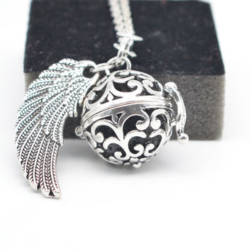 Angel Bola Caller Lockets Pendant Women Pregnancy Ball Flower Wing Essential Oil Diffuser Necklace Aromatherapy Jewelry XSH102