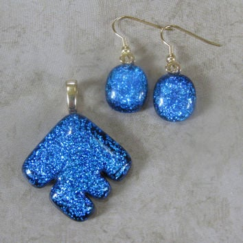 Blue Dichroic Pendant and Earring Set, Dichroic Glass Pendant, Dangle Dichroic Earrings, Large Gold Bail - One of a Kind - Blue Arrow  by mysassyglass