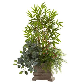 Silk Flowers -38 Inch Mixed Mini Bamboo Fittonia And Springeri With Planter