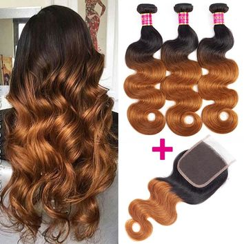 TODAY ONLY Brazilian Body Wave Bundles With Closure Brazilian Hair Weave Bundles With Closure Remy Ombre Bundles With Closure