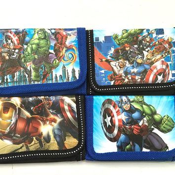 12Pcs The Avengers Captain America Pouch Children Purse Small Wallet Party Birthday Gift Coin Purse Cute Kids Cartoon Wallet Bag