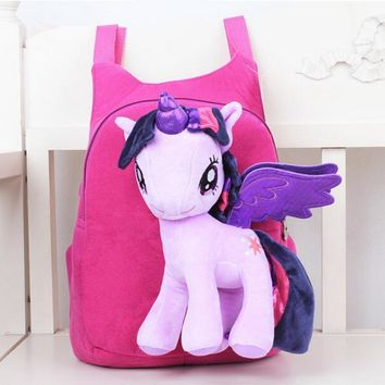3D My Pony backpack for girls Kids School bag Child Plush Backpacks Baby Schoolbag Cartoon Kids Satchel Mochila Infantil