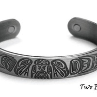 Two Eagles Silver Brushed Copper Cuff Bracelet designed by Paul Windsor, Haisla, Heiltsuk