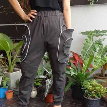 25% OFF Charcoal Grey - Harem Pants - Cargo Pockets , Unisex Trousers, in Cotton Jersey.