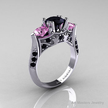 Nature Inspired 14K White Gold Three Stone Black Diamond Light Pink Sapphire Solitaire Wedding Ring Y230-14KWGLPSBD