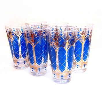 6 Vintage Water, Juice, Drinking Glasses, Blue / Gold
