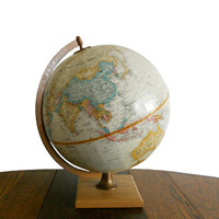 Vintage World Globe Replogle 12 Inch World Classic Series Raised Relief Sepia Tone and Solid Wood Base