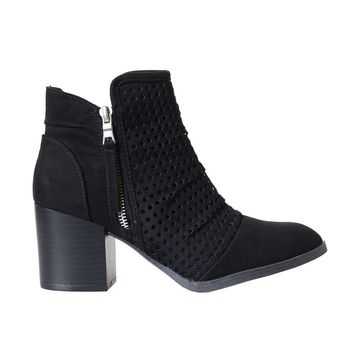 Black Faux Suede Perforated Boots