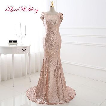 iLoveWedding Sequined Champagne Mermaid Evening Dresses Cap Sleeve Scoop Neck Sweep Train Women Formal Party Dinner Gowns 18286