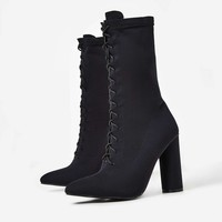 Christin Lace Up Block Heel Ankle Boot In Midnight Black Knit