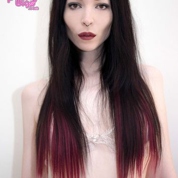 Ombré Burgundy Dip Dyed 7pcs Straight Clip-In Hair Extensions