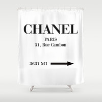 Paris Mileage Distance Shower Curtain by Edit Voros
