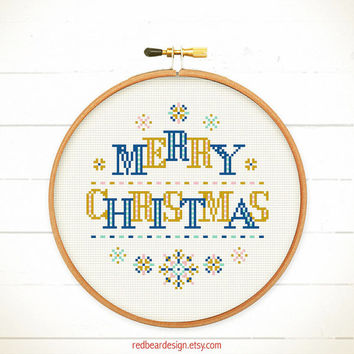 Modern Christmas cross stitch pattern - ModernChristmas - Xstitch Instant download - Modern Xmas christmas trees deers Love Heart Sweet Home